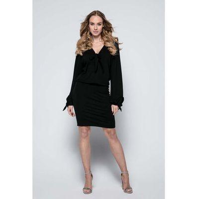 4b4deefd7e Czarna Sukienka Casual z Wiązaniami przy Dekolcie i Rękawach