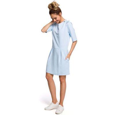 a825753b82 Błękitna Kobieca Sukienka Dzianinowa z Kokardką na Ramieniu