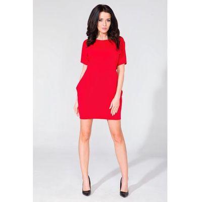 8e5b689789 Prosta dzianinowa czerwona sukienka z kieszeniami po bokach marki Tessita