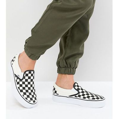 Vans Platform Slip On Trainers In Checkerboard Black, kolor czarny