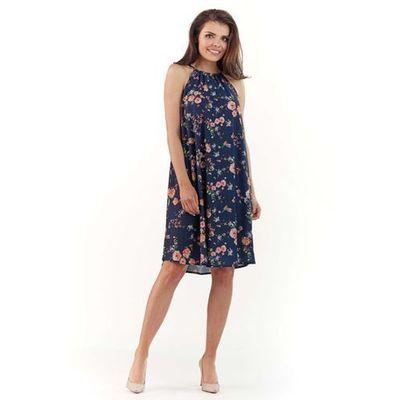 bee0e2d545ea1 Lou-lou Granatowa zwiewna sukienka midi w kwiatowy wzór z wiązanym dekoltem