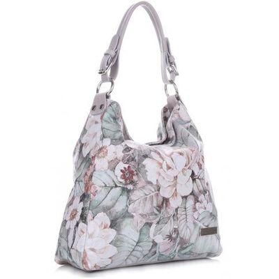 3ad34bdf8eb00 made in italy modna torebka skórzana w kwiaty multikolorowa szara (kolory)  marki Vittoria gotti