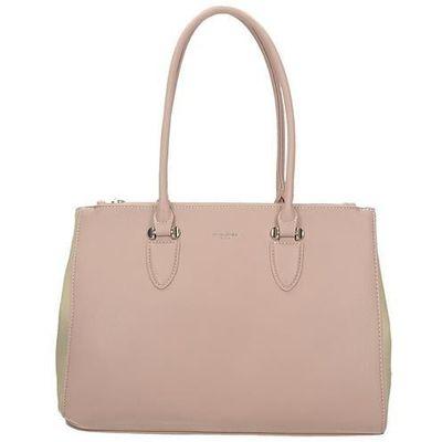 5dc48cbedca01 Klasyczna różowo-beżowa torba damska DAVID JONES CM5017