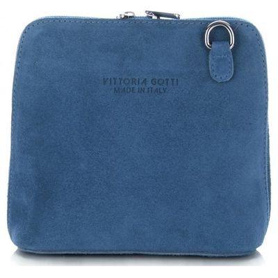 b98c34be1df2e Małe Torebki Skórzane Listonoszki firmy Vittoria Gotti wykonane w całości z Zamszu  Naturalnego Jeansowe (kolory)