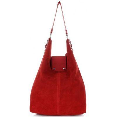f5723926ac723 Duża Torba Skórzana Shopper XXL Vittoria Gotti Made in Italy zamsz  naturalny wysokiej jakości Czerwona (kolory), kolor czerwony