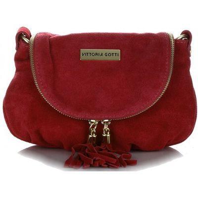 a30c0c77a1c33 Vittoria gotti Małe torebki skórzane listonoszki firmy wykonane w całości z  zamszu naturalnego czerwone (kolory)