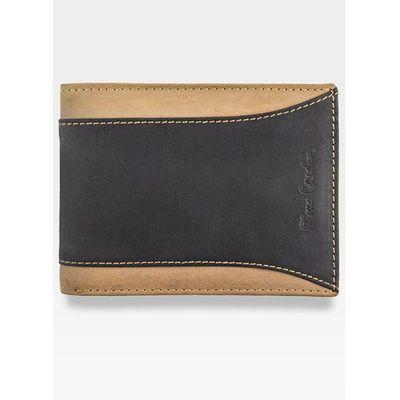 22ae57dd27d68 Mały i cienki portfel męski poziomy brązowy skórzany hunter 8806 - czarny +  brązowy marki Pierre cardin