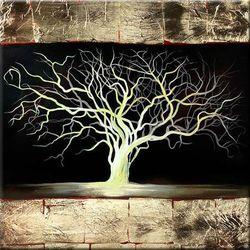 """obrazy nowoczesne """"drzewko szczęścia"""" ręcznie malowane w technice strukturalnej na podkładach 3D 80x80cm"""