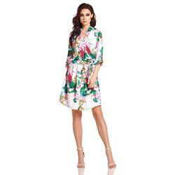 a38368392f Biała rozkloszowana sukienka kopertowa w kwiaty