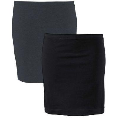 48a0c5a6e298 Spódnica shirtowa ze stretchem (2 szt.) bonprix antracytowy melanż +  czarny