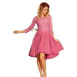 636acfc031 Różowa wieczorowa rozkloszowana sukienka z koronką