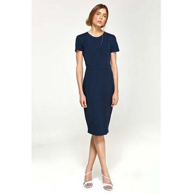 37f75b518f Ołówkowa Sukienka z Krótkim Rękawem- Granatowa. Rodzaj  ołówkowa Długość  rękawa  krótki rękaw Kolor  niebieski Rozmiar  36