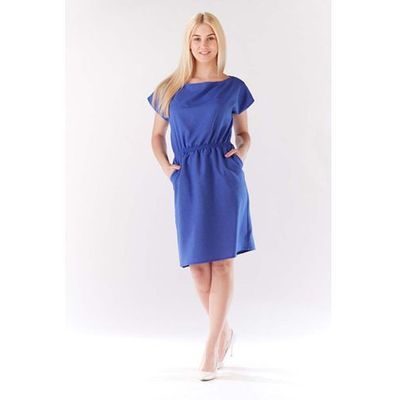 a2590e6e7a729 Niebieska Sukienka z Gumkami w Talii z Kimonowym Rękawkiem