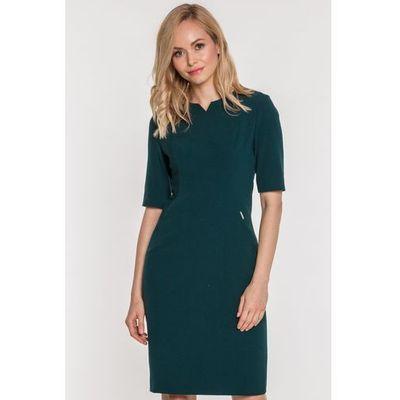 b94d251196 Sukienka w kolorze butelkowej zieleni - marki Carmell