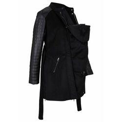 Płaszcz ciążowy z wstawką na nosidełko, z materiału w optyce wełny bonprix czarny, w 3 rozmiarach