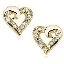 Delikatne pozłacane srebrne kolczyki serca serduszka z cyrkoniami srebro 925 Z1064E_G