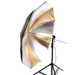 Parasolka dwuwarstwowa, reflektor srebrno-złoty, 152cm