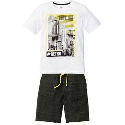 Shirt + bermudy dresowe (2 części) bonprix biało-czarny z nadrukiem