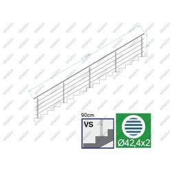 Balustrada nierdzewna AISI304, D42,4/4xd12/H900/L6