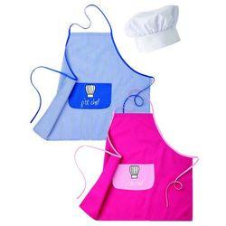 Fartuch dziecięcy z białą czapką szefa kuchni, niebieski   ROBUR, Kid-Pack