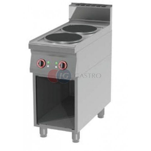 Piece i płyty grzejne gastronomiczne, Kuchnia elektryczna wolnostojąca 2-palnikowa z szafką otwartą Red Fox linia 900 SP 90/40 E