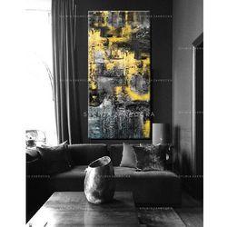 Duże obrazy nowoczesne - ręcznie malowane - zolto popielata erozja rabat 10%