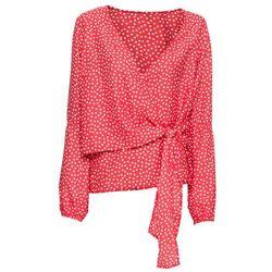Bluzka z nadrukiem bonprix czerwono-biały w groszki