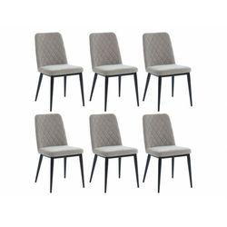 Zestaw 6 krzeseł PILA – pikowane – tkanina i metal – kolor szary