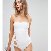 Stroje kąpielowe, PrettyLittleThing exclusive bandage button side swimsuit - White