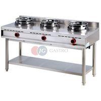 Piece i płyty grzejne gastronomiczne, Kuchnia gazowa wok 3-palnikowa na podstawie otwartej 30 kW Red Fox K - 3 G