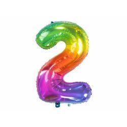 Balon foliowy cyfra 2 tęczowy - 86 cm - 1 szt.