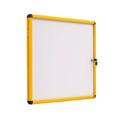 Gabloty reklamowe, Gablota z białą magnetyczną powierzchnią, żółta ramka, 720x674 mm (6xA4)