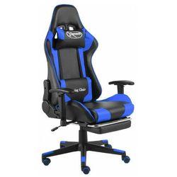Czarno-niebieski fotel gamingowy z podnóżkiem - Divinity