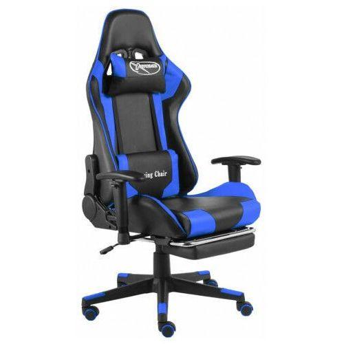Fotele dla graczy, Czarno-niebieski fotel gamingowy z podnóżkiem - Divinity