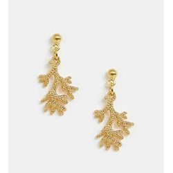ASOS DESIGN Sterling silver with gold plate earrings with coral drop - Gold