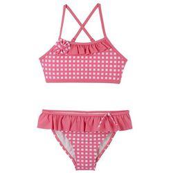 Bikini dziewczęce (2 części) bonprix różowy flaming - biały w kratę
