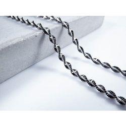 Srebrny (925) łańcuszek czarny spirala MAGIC 55 cm