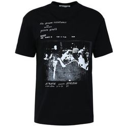 McQ Alexander McQueen DROPPED SHOULDER TEE Tshirt z nadrukiem darkest black
