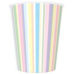Kubeczki urodzinowe w pastelowe paski - 250 ml - 8 szt.