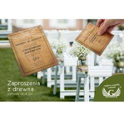 Zaproszenia ślubne z drewna - cyfrowy druk UV - ZAP022