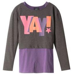 """Shirt dziewczęcy """"boxy"""" z długim rękawem i topem (2 części) bonprix antracytowy melanż - ultrafioletowy"""