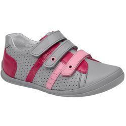 Sneakersy Półbuty KORNECKI 1654 Szare+Róż Skóra na rzepy - Popielaty ||Szary ||Różowy