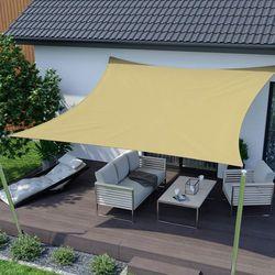 Żagiel przeciwsłoneczny, kwadratowy, z tkaniny wodoodpornej, piaskowy, 360x360 cm