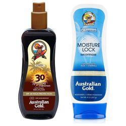 Australian Gold Spray Gel Bronzer SPF30 and Moisture Lock | Zestaw do opalania: spray do opalania z bronzerem 237ml + balsam po opalaniu 227g