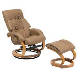Fotel beżowy ekoskóra funkcja masażu z podnóżkiem FORCE