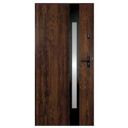 Drzwi zewnętrzne O.K. Doors Temida Black P55 90 lewe ciemny orzech