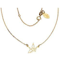 Pozłacany srebrny naszyjnik gwiazd celebrytka origami łabędź ptak srebro 925 CEL101NG