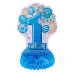 Rozeta na roczek 1st Birthday Baloniki niebieska - 35 cm - 1 szt.