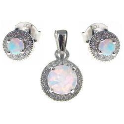 Delikatny rodowany srebrny komplet z opalem i cyrkoniami opal cyrkonie srebro 925 V014Z