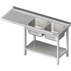 Stół ze zlewem dwukomorowym z prawej strony z półką i miejscem na lodówkę lub zmywarkę 2100x600x850 mm | STALGAST, 981036210